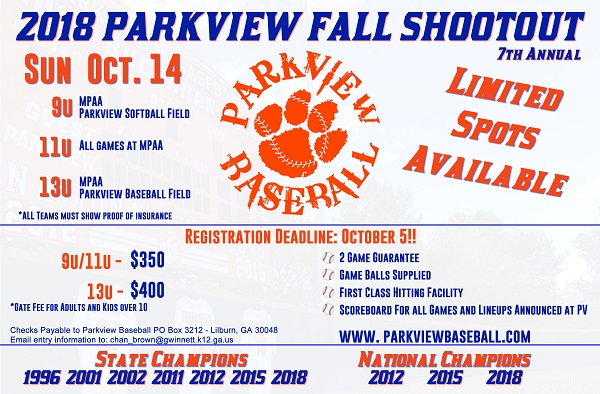 2018 Parkview Fall Shootout Flyer
