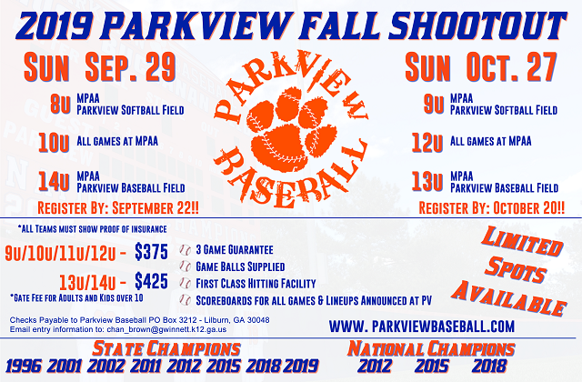 2019 Parkview Fall Shootout Flyer
